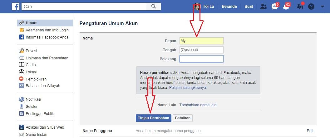 đổi tên facebook 1 chữ trên điện thoại và máy tính