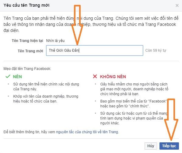 đổi tên fanpage facebook