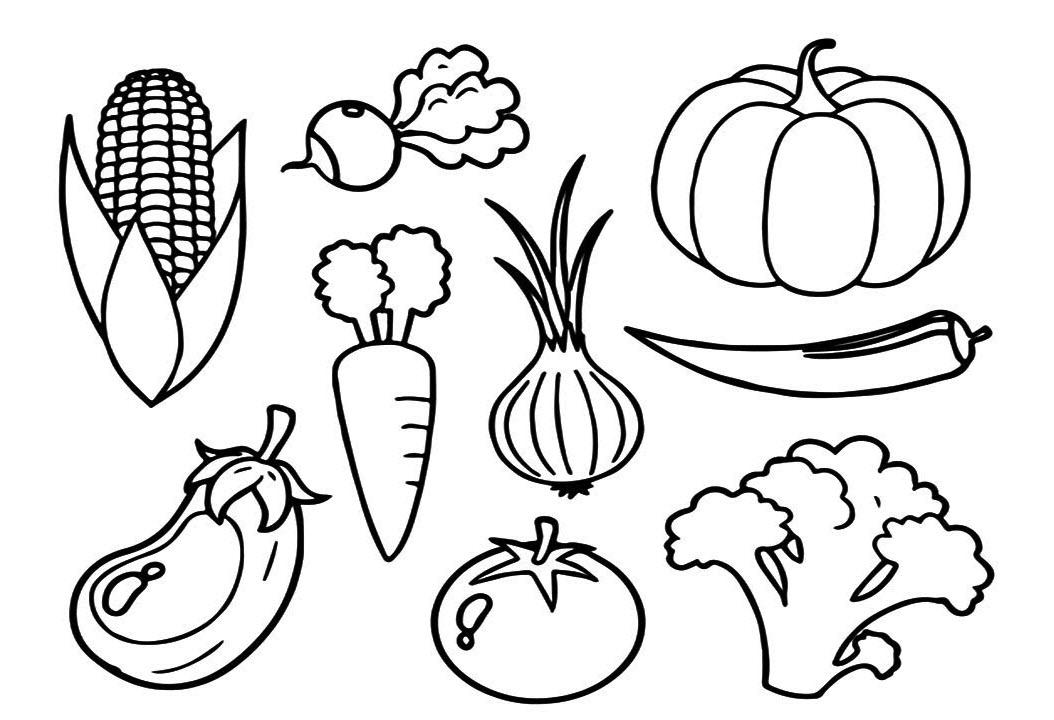 tranh tô màu rau củ quả