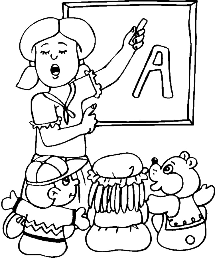 tranh tô màu cô giáo