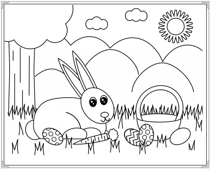 Tranh tô màu con thỏ dễ thương